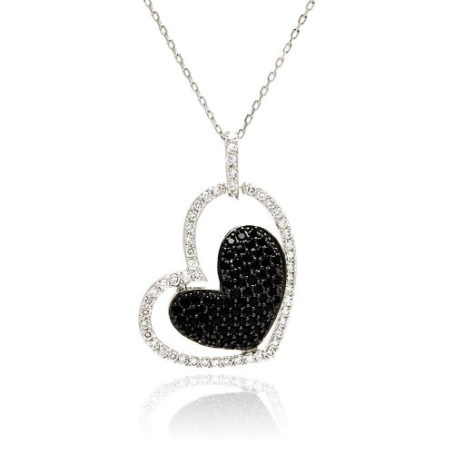-Closeout- Wholesale Sterling Silver 925 Rhodium and Black Rhodium Plated Clear and Black CZ Heart Pendant Necklace - STP00819