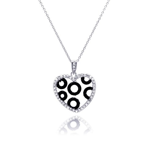 **Closeout** Wholesale Sterling Silver 925 Rhodium and Black Rhodium Plated Clear and Black CZ Heart Circles Pendant Necklace - STP00820