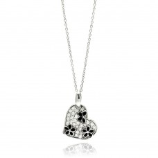 **Closeout** Sterling Silver Rhodium Plated Clear and Black CZ Flower Heart Pendant Necklace - STP00822