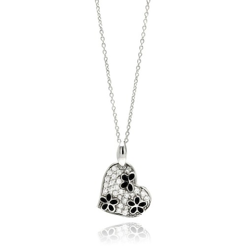 **Closeout** Wholesale Sterling Silver 925 Rhodium Plated Clear and Black CZ Flower Heart Pendant Necklace - STP00822