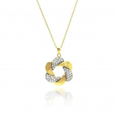 **Closeout** Sterling Silver Gold & Rhodium Plated Clear CZ Knot Pendant Necklace - STP00825