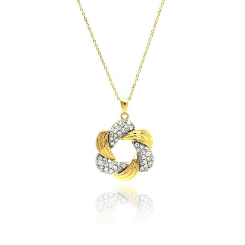 Wholesale Sterling Silver 925 Gold and Rhodium Plated Clear CZ Star of David Pendant Necklace - STP00825
