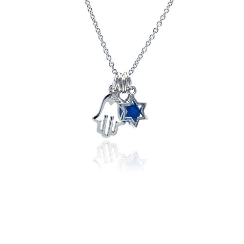 Wholesale Sterling Silver 925 Rhodium Plated Clear CZ Hamsa and Star Pendant Necklace - STP00827