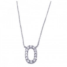 Sterling Silver Rhodium Plated Clear CZ Number 0 Pendant Necklace - STP00828