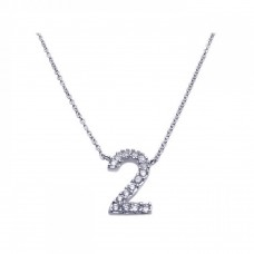 Sterling Silver Rhodium Plated Clear CZ Number 2 Pendant Necklace - STP00830