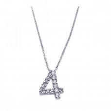 Sterling Silver Rhodium Plated Clear CZ Number 4 Pendant Necklace - STP00831