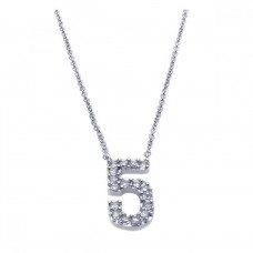 Sterling Silver Rhodium Plated Clear CZ Number 5 Pendant Necklace - STP00832