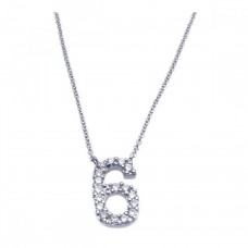 Sterling Silver Rhodium Plated Clear CZ Number 6 Pendant Necklace - STP00833