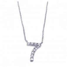 Sterling Silver Rhodium Plated Clear CZ Number 7 Pendant Necklace - STP00834
