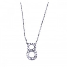 Sterling Silver Rhodium Plated Clear CZ Number 8 Pendant Necklace - STP00835