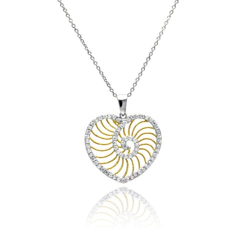 **Closeout** Wholesale Sterling Silver 925 Rhodium Plated Clear CZ Heart Gold Plated Swirl Pendant Necklace - STP00838