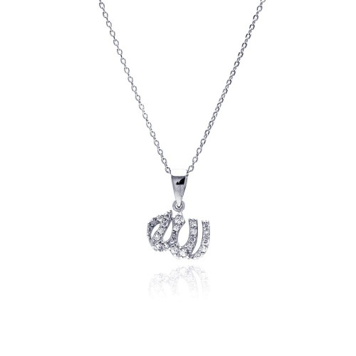 Wholesale Sterling Silver 925 Rhodium Plated Clear CZ Allah Pendant Necklace - STP00840