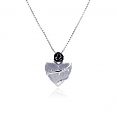 **Closeout** Sterling Silver Rhodium Plated Clear CZ Heart Pendant Necklace - STP00846