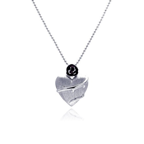 **Closeout** Wholesale Sterling Silver 925 Rhodium Plated Clear CZ Heart Pendant Necklace - STP00846