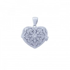Sterling Silver Rhodium Plated Clear CZ Heart Pendant Necklace - STP00849