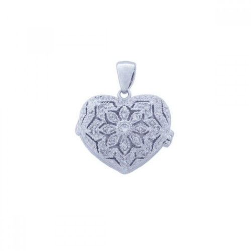 Wholesale Sterling Silver 925 Rhodium Plated Clear CZ Heart Pendant Necklace - STP00849