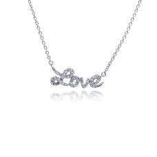 Wholesale Sterling Silver 925 Rhodium Plated Clear CZ Love Pendant Necklace - STP00854