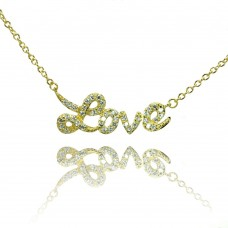 Wholesale Sterling Silver 925 Gold Plated Clear CZ Love Pendant Necklace - STP00854GP