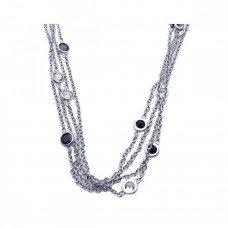 Sterling Silver Rhodium Plated Black CZ Pendant Necklace - STP00864
