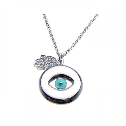 Wholesale Sterling Silver 925 Rhodium Plated Clear CZ Evil Eye Hamsa Pendant Necklace - STP00869