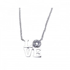 Wholesale Sterling Silver 925 Rhodium Plated Clear CZ Love Pendant Necklace - STP00872