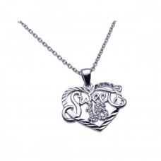 Wholesale Sterling Silver 925 Rhodium Plated Clear CZ Sweet 16 Pendant Necklace - STP00904