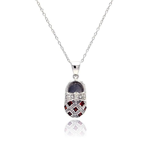 **Closeout** Wholesale Sterling Silver 925 Rhodium Plated Clear CZ Shoe Pendant Necklace - STP00878