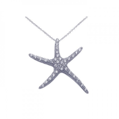 Wholesale Sterling Silver 925 Rhodium Plated Clear CZ Starfish Pendant Necklace - STP00886