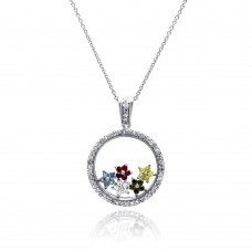 Sterling Silver Rhodium Plated Clear CZ Circle Colorful Stars Pendant Necklace - STP00891