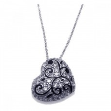 **Closeout** Sterling Silver Rhodium Plated Clear CZ Heart Pendant Necklace - STP00893
