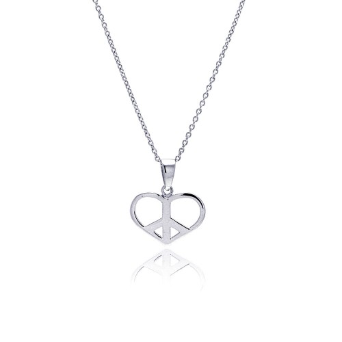 -Closeout- Wholesale Sterling Silver 925 Rhodium Plated Clear CZ Heart Pendant Necklace - STP00898