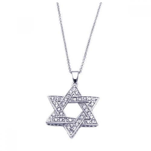 Wholesale Sterling Silver 925 Rhodium Plated Clear CZ Star Pendant Necklace - STP00902