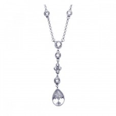Wholesale Sterling Silver 925 Rhodium Plated Clear CZ Dangling Pendant Necklace - STP00911