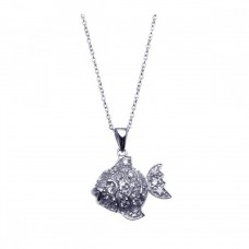 Sterling Silver Rhodium Plated Clear CZ Fish Pendant Necklace - STP00915