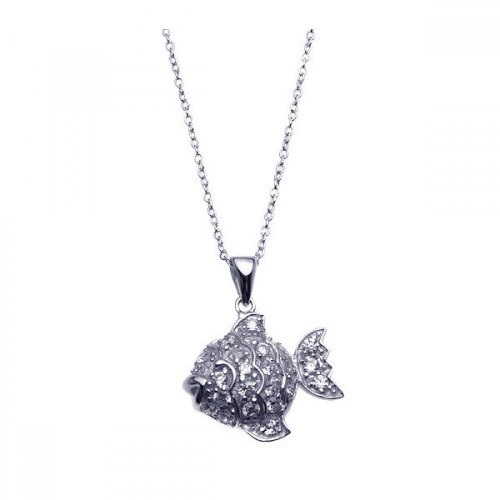 Wholesale Sterling Silver 925 Rhodium Plated Clear CZ Fish Pendant Necklace - STP00915