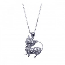 Sterling Silver Rhodium Plated Clear CZ Cat Pendant Necklace - STP00918