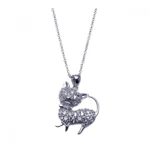 Wholesale Sterling Silver 925 Rhodium Plated Clear CZ Cat Pendant Necklace - STP00918