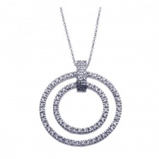 Sterling Silver Rhodium Plated Clear CZ Double Circle Pendant Necklace -  STP00920