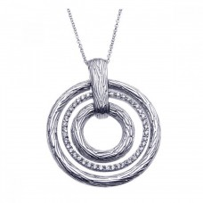 **Closeout** Sterling Silver Rhodium Plated Clear CZ Triple Circle Pendant Necklace - STP00921