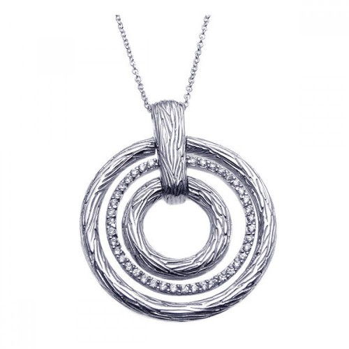 **Closeout** Wholesale Sterling Silver 925 Rhodium Plated Clear CZ Triple Circle Pendant Necklace - STP00921