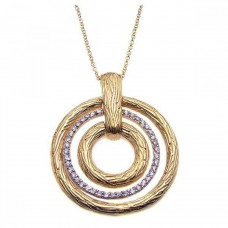 **Closeout** Sterling Silver Gold Plated Clear CZ Triple Circle Pendant Necklace - STP00923