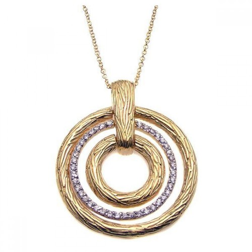 **Closeout** Wholesale Sterling Silver 925 Gold Plated Clear CZ Triple Circle Pendant Necklace - STP00923