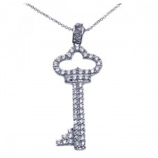 Wholesale Sterling Silver 925 Rhodium Plated Clear CZ Key Pendant Necklace - STP00932