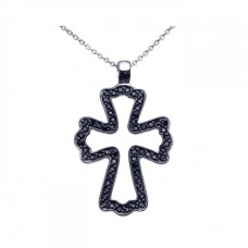 **Closeout** Sterling Silver Black Rhodium Plated Black CZ Cross Pendant Necklace - STP00936