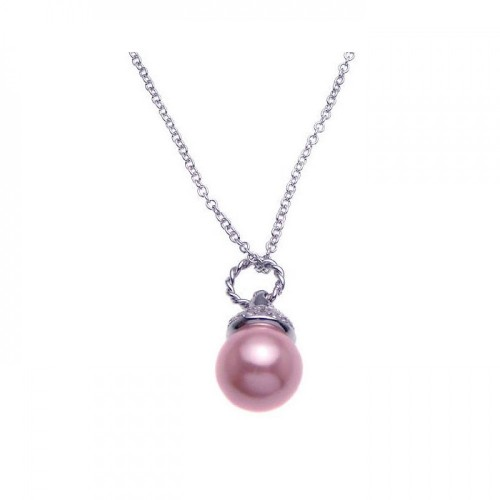 Wholesale Sterling Silver 925 Rhodium Plated Clear CZ and Pink Pearl Pendant Necklace - STP00939PNK