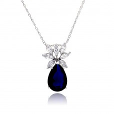 Sterling Silver Rhodium Plated Clear CZ and Blue Pear CZ Pendant Necklace - STP00941BLUE