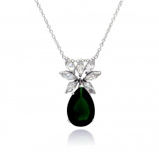 Wholesale Sterling Silver 925 Rhodium Plated Clear CZ and Green Pear CZ Pendant Necklace - STP00941GREEN