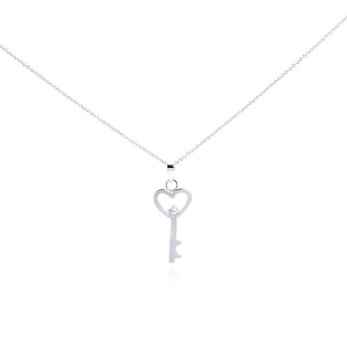 Wholesale Sterling Silver 925 Rhodium Plated Clear CZ Heart Key Pendant Necklace - STP00944