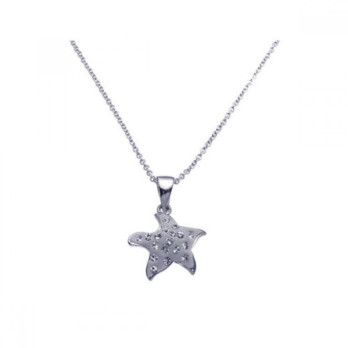 Wholesale Sterling Silver 925 Rhodium Plated Clear CZ Starfish Pendant Necklace - STP00946