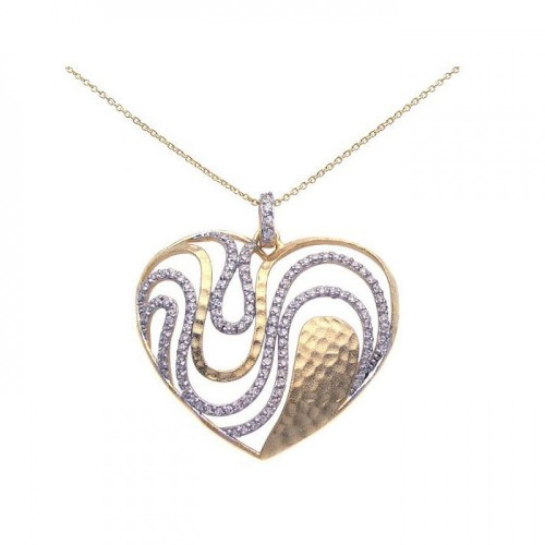 **Closeout** Wholesale Sterling Silver 925 Gold and Rhodium Plated Clear CZ Heart Pendant Necklace - STP00948
